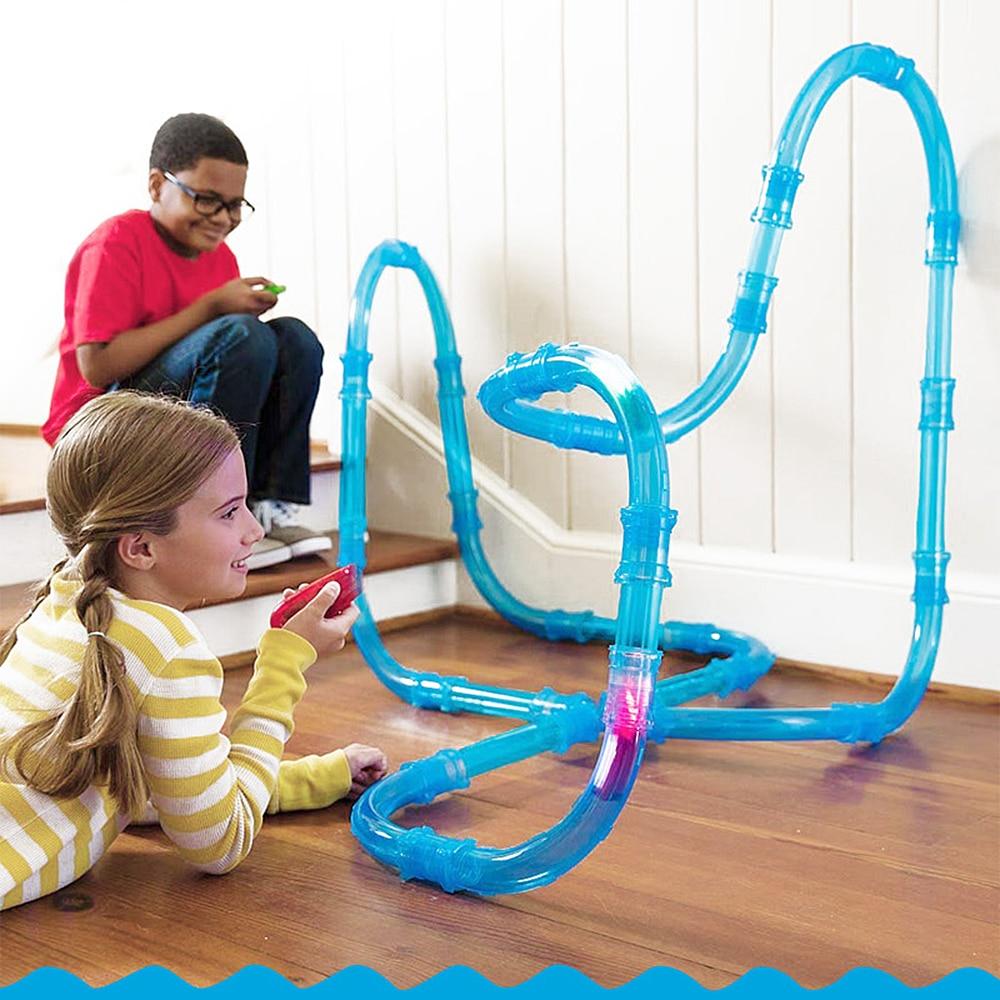 Радиоуправляемая игрушечная машинка, Детские трубки, гоночные грузовики, дистанционное управление, скоростные трубы, автомобильный гоночный трек, мигающий светильник, сделай сам, набор строительных трубок, игрушки