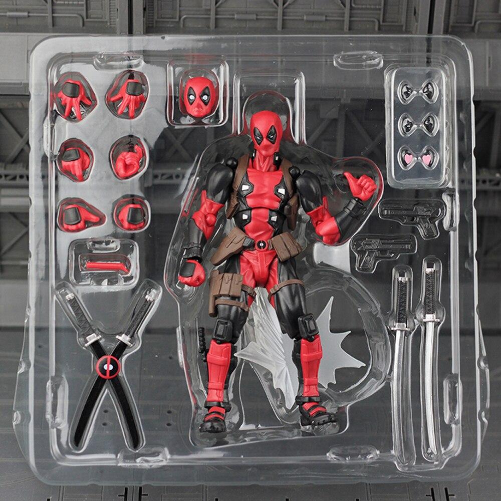 FIGMA X-MAN Series Spiderman  NO.001 Revoltech Deadpool With Bracket NO.002 Revoltech Spider Man Action Figures superior spider man no escape