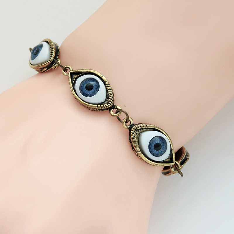 HUMANO FINO 2 Colors Retro Punk Fashion Evil Damon Eyes Bracelets Bangles Silver Bronze Plated For Men Drop Shipping Pulseras