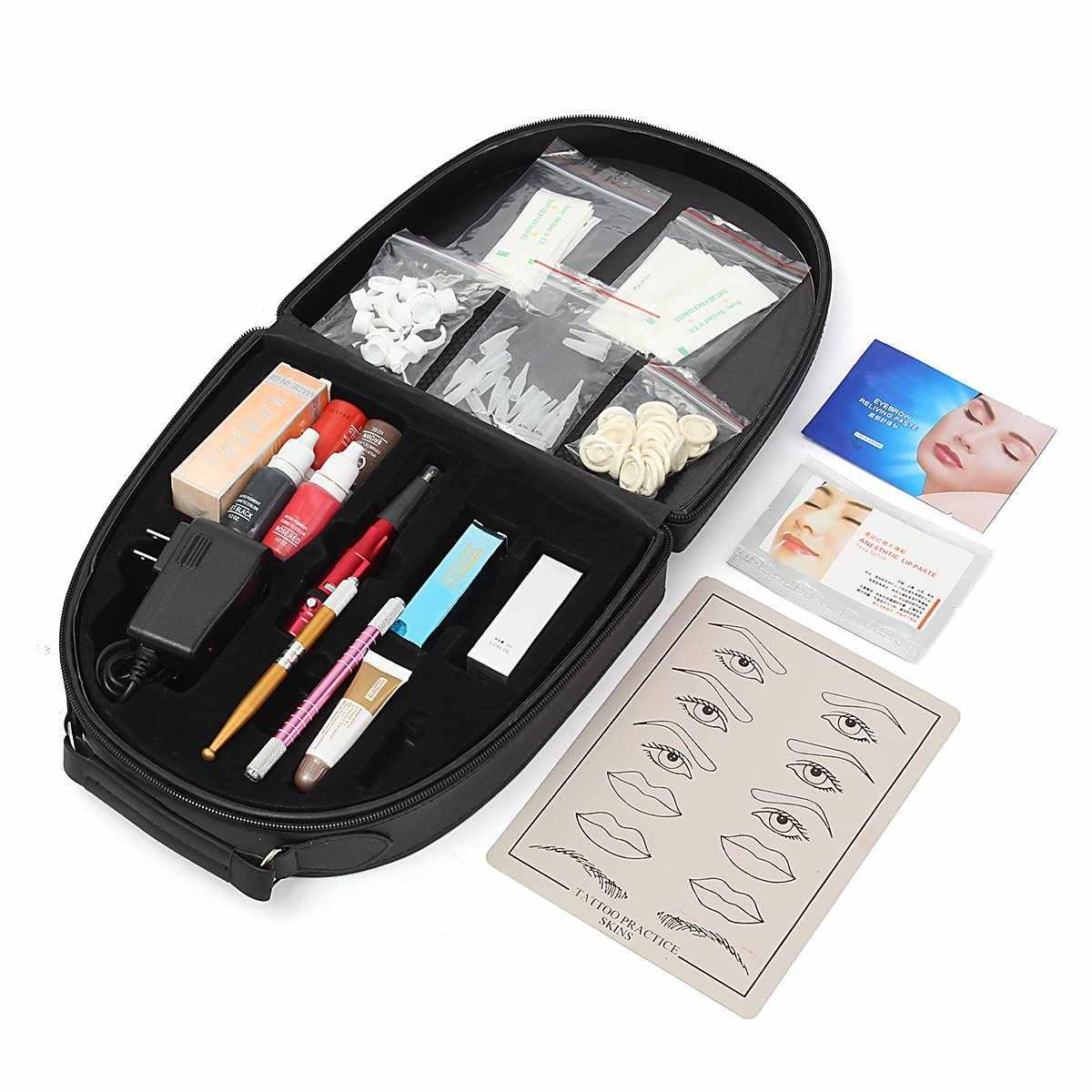 מקצועי גבות קעקוע מכונת ערכת קעקוע עובד רוטרי רובים סט שלם עבור קבוע איפור יופי עין שפתיים אייליינר
