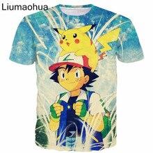 Liumaohua 2018 New Funny Cartoon t shirts Men Women Summer Hipster 3D t shirt Cute Ash Ketchum and Pikachu Print t casual shirts  - buy with discount