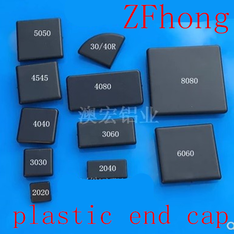 50pcs 20pcs 10pcs Black plastic ABS End Cap EU Aluminum Cover Plate Endcap with Single hole for 2020 <font><b>3030</b></font> 4040 Aluminum Profiles image