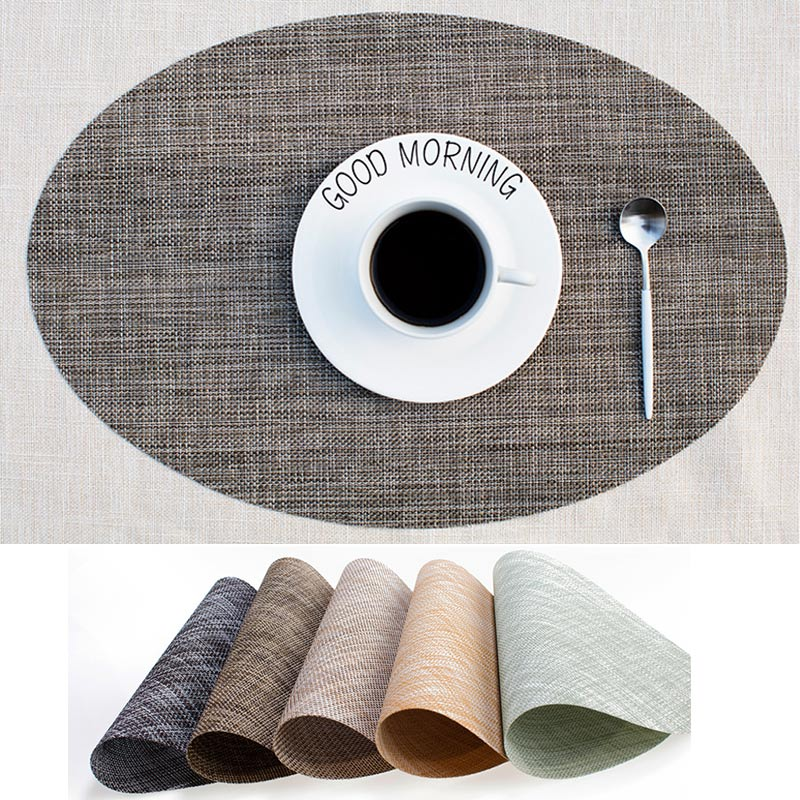 PVC Round Dining Table Mat Heat Insulation Non-Slip Placemats Disc Bowl Tableware Pads Coaster Kitchen Accessories