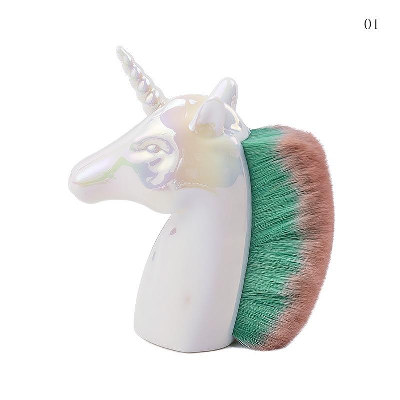 New Unicorn Horse Makeup Brushes Colorful Synthetic Hair Face Cosmetic Powder Blush Brush Nail Art Beauty Tools Kits Gift 3