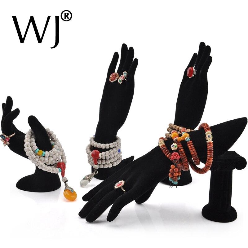 Venta al por mayor, 4 piezas, maniquí, forma de mano, joyería, pulsera, anillo, collar, soporte, estante, vitrina, terciopelo negro-in Envase y exposición de joyería from Joyería y accesorios    1