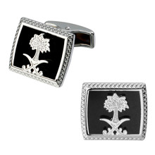 A pair of high quality brass material silver flowers Saudi flag cufflinks fashion men's shirts cufflinks sculpture