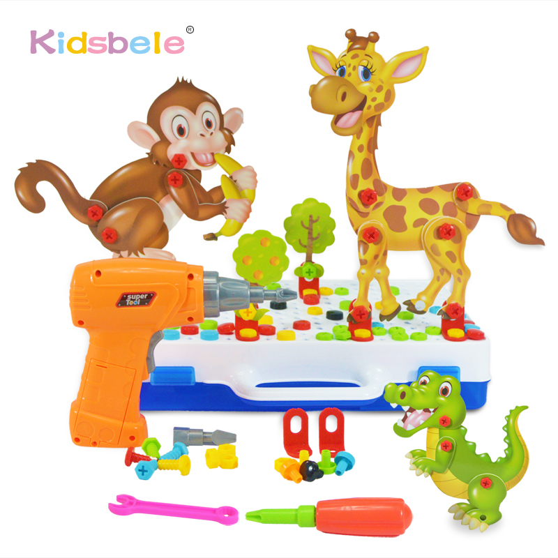 2019 New Kids Toy Drill Screw Nut Toys DIY Assembled 3D Animals Toy Tool Kit Electronic Drills Birthday Gift Toys For Boy(China)