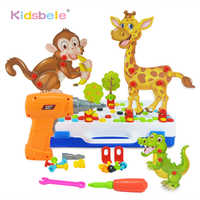 2019 New Kids Toy Drill Screw Nut Toys DIY Assembled 3D Animals Toy Tool Kit Electronic Drills Birthday Gift Toys For Boy