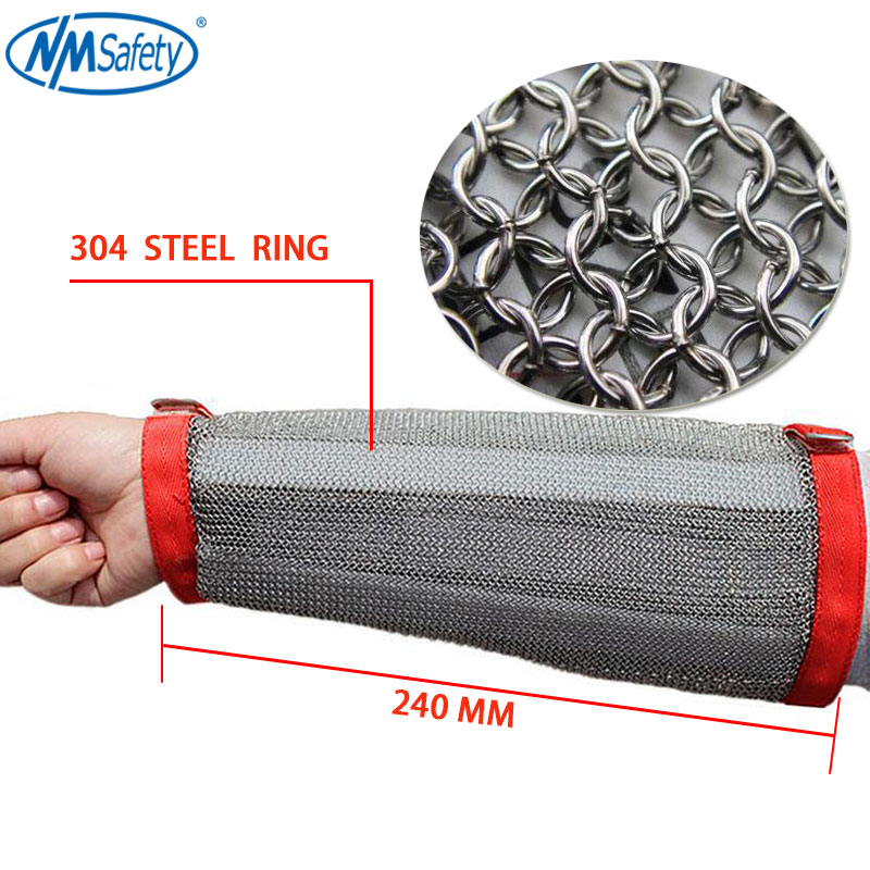 NMSafety High quality 304 Stainless Steel Ring Armed Police Security or Butcher Protect Glove Arm