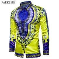 New African Dashiki Shirt Men 2017 Mens Casual Slim Fit Long Sleeve Dress Shirts Floral Print