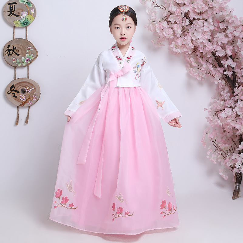 Korea Traditional Hanbok Dress For Children Ancient Wedding Embroidered Outfit Orient Ethnic Stage Dance Copaly Costume Gift 90