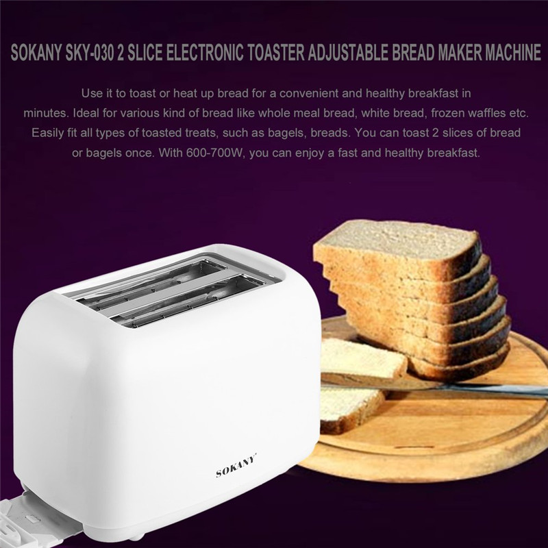 SOKANY SKY-030 2 Slice Electronic Toaster Bread Maker Machine with 6 Knobs Levels Adjustable High-lift Pasta Making Machine kitchen slice of bread cake separators white green 2 pcs