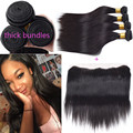 Natural Black Top 4Bundles With Closures Amazing Frontal And Bundles Star Straight Style Hair Filipino Virgin Hair With Closure