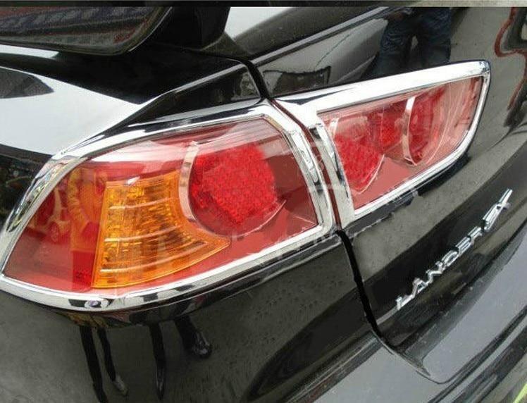 ABS Chrome Rear headlight Lamp Cover For 2010 2013 Mitsubishi Lancer Lancer X Lancer Evo