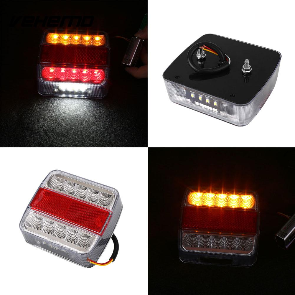 Vehemo 12V 10 LED Truck Trailer Boat Caravan Tail Light Brake Stop Lamp Taillight tirol 13 to 7 pin adapter trailer 12v towbar towing caravan truck electrical converter n type plastic