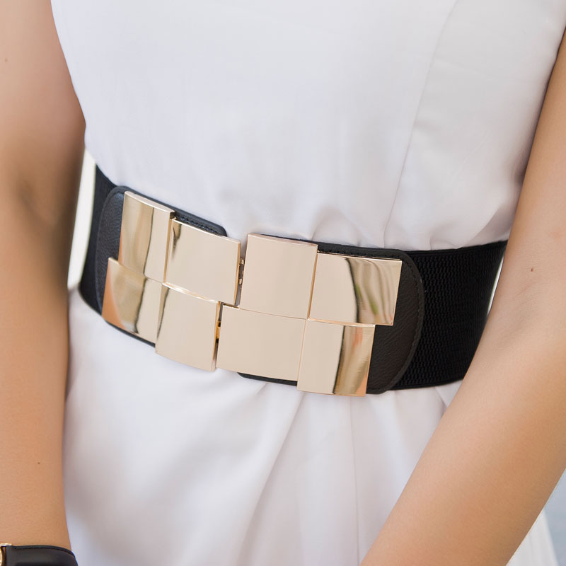 Women Waistbands Fashion Wide Black Stretchy Cummerbunds Big Gold Square Buckle Fashion Elastic Waistband Dress Cummerbund Lady