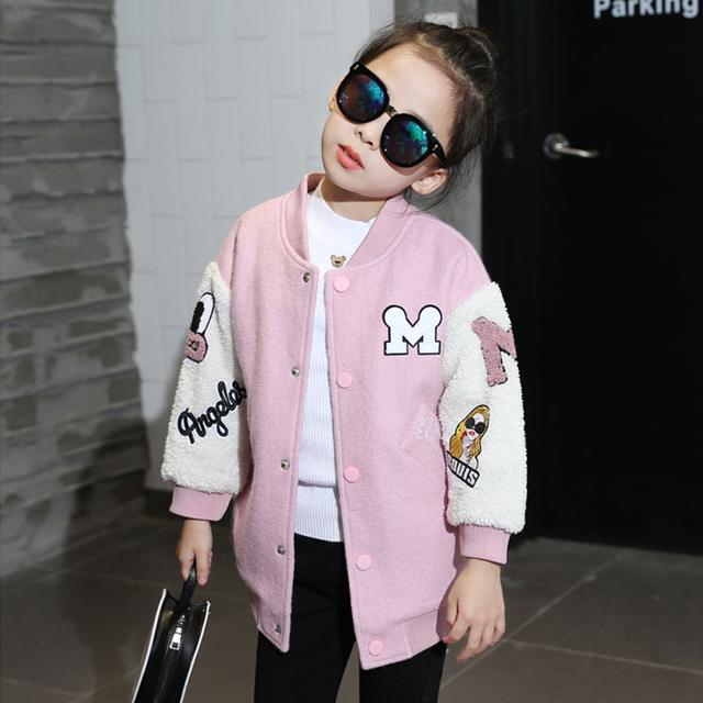 Children's clothing  winter new berber fleece medium-long cotton-padded girls Outerwear child embroidery baseball coat