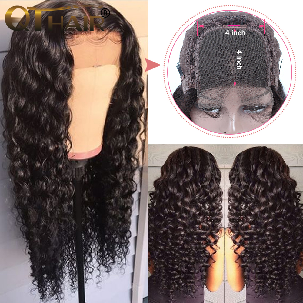 Deep Wave 4x4 Lace Closure Human Hair Wigs For Women Pre Plucked Hairline With Baby Hair