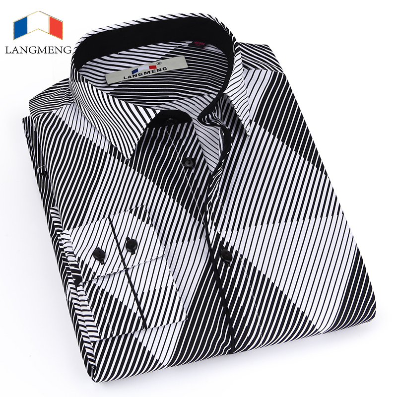 Langmeng clearance 100 cotton long sleeve men striped 100 cotton tuxedo shirt
