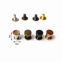 XUNZHE 20pcs 7*6mm Double flat rivet DIY Luggage Leather metal Nail great quality Copper Rivet Screw strap Rivets