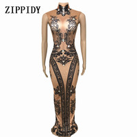 Black Flower Printed Long Dress Bright Crystals One piece Nude Stretch Costume Female Singer Birthday Party Celebrate Outfit