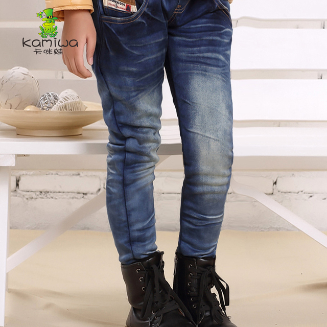 KAMIWA 2016 Boys Winter Plus Velvet Jeans Fashion Thickening Warm Cowboy Pants Teenage Casual Children's Trousers Kids Clothing