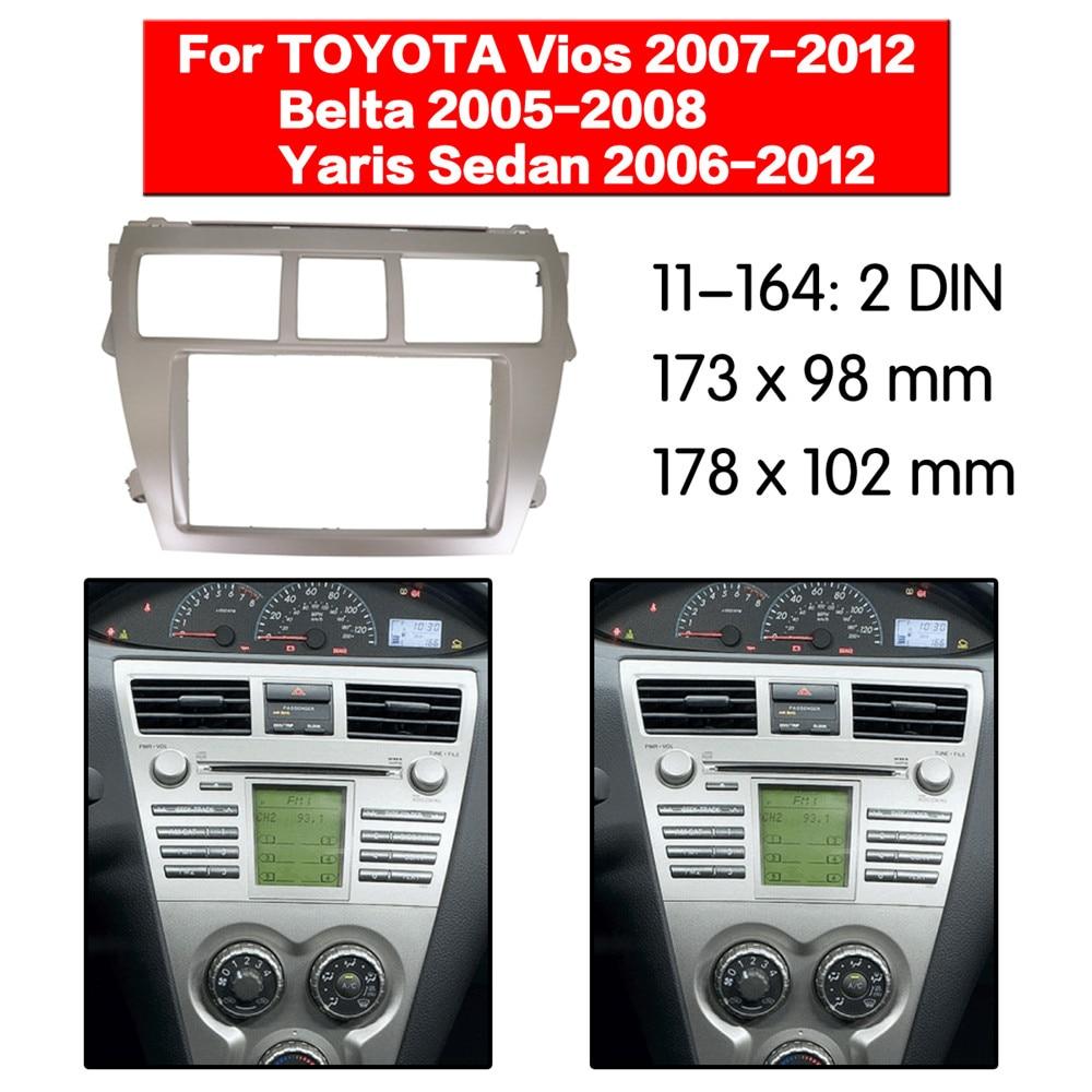Car Radio Fascia Frame Kit 2 Din For Toyota Vios 2007 2012