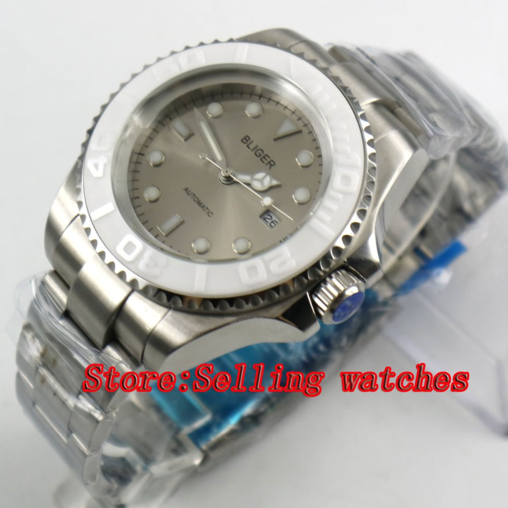 44mm Bliger Gray Dial Ceramic bezel Sapphire Crystal Date Window Automatic Movement Men's Mechanical Wristwatches 44mm bliger gray dial blue ceramic bezel sapphire crystal automatic movement men s mechanical wristwatches