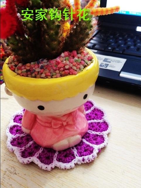 Livraison Gratuite 12 Pic Lot Fleur Conception Coton Crochet Pourpre
