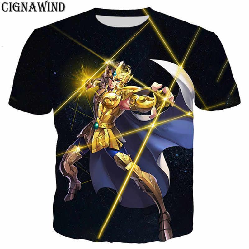 ファッションクラシックアニメゴールド聖闘士星矢 tシャツ男性/女性 3D プリント tシャツユニセックス原宿スタイル tシャツストリートトップス