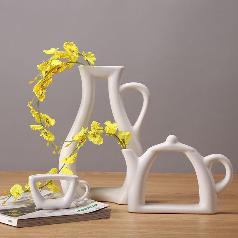 home Decor Flower Vase Ceramic Teapot Shape Stylish Kettle ...