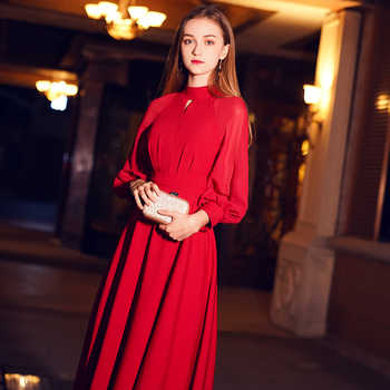 weiyin Red Elegant A Line Long Evening Dress 2019 New High Neck Long Sleeves Party Gown Bodice Vestido Longos WY1243