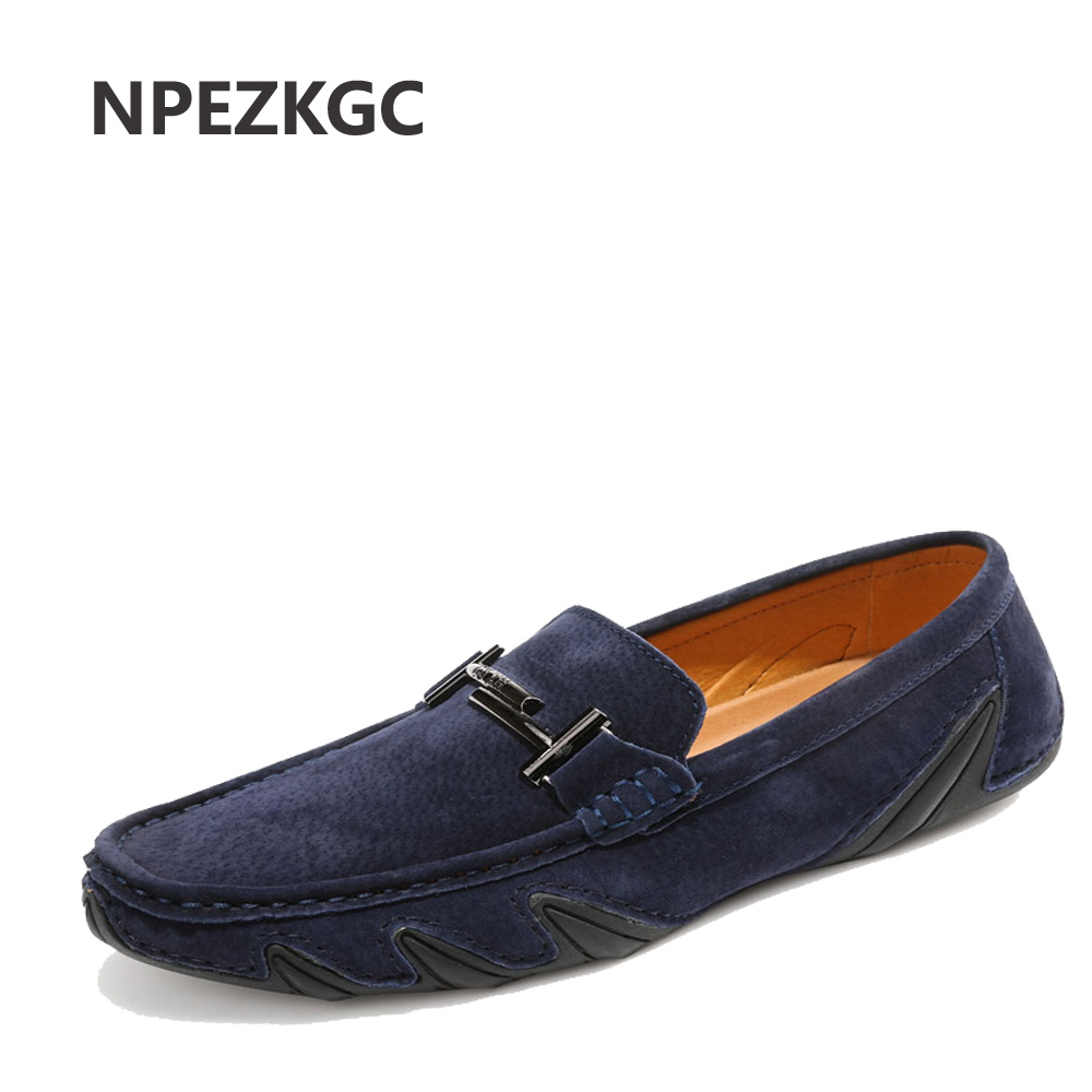 NPEZKGC Handmade Genuine Leather Mens Shoes Casual Luxury Brand Men Loafers Fashion Breathable Driving Shoes Slip On Moccasins npezkgc handmade genuine leather men s flats casual luxury brand men loafers comfortable soft driving shoes slip on moccasins