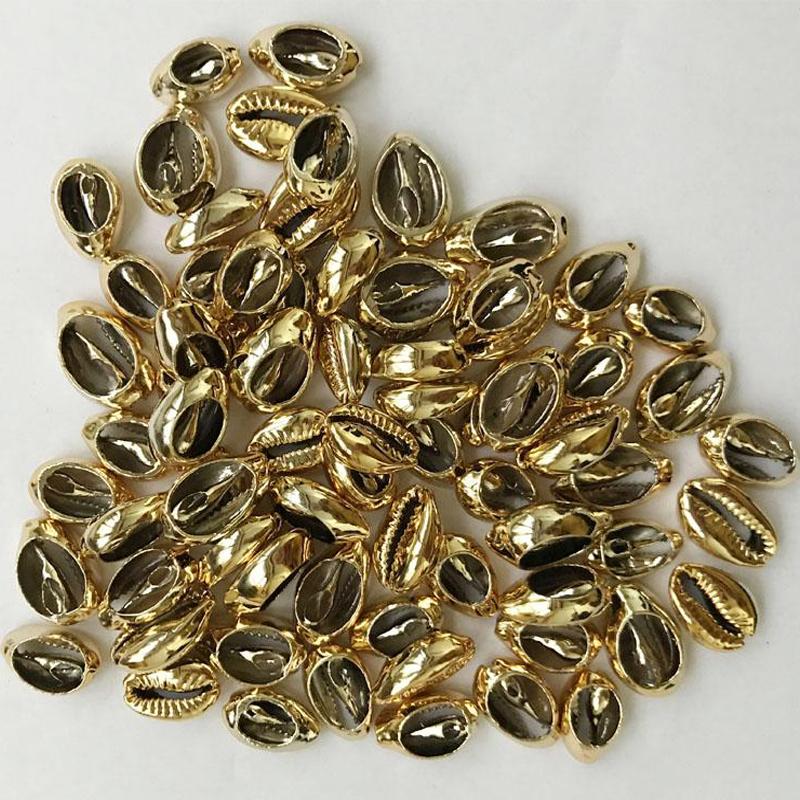 Золотистые/Серебристые бусины в форме ракушек cowrie для изготовления