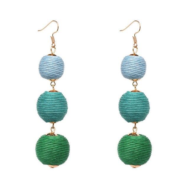Rainbery Thread Ball Dangle Earrings Triple Beaded Ear Bon Color Pom