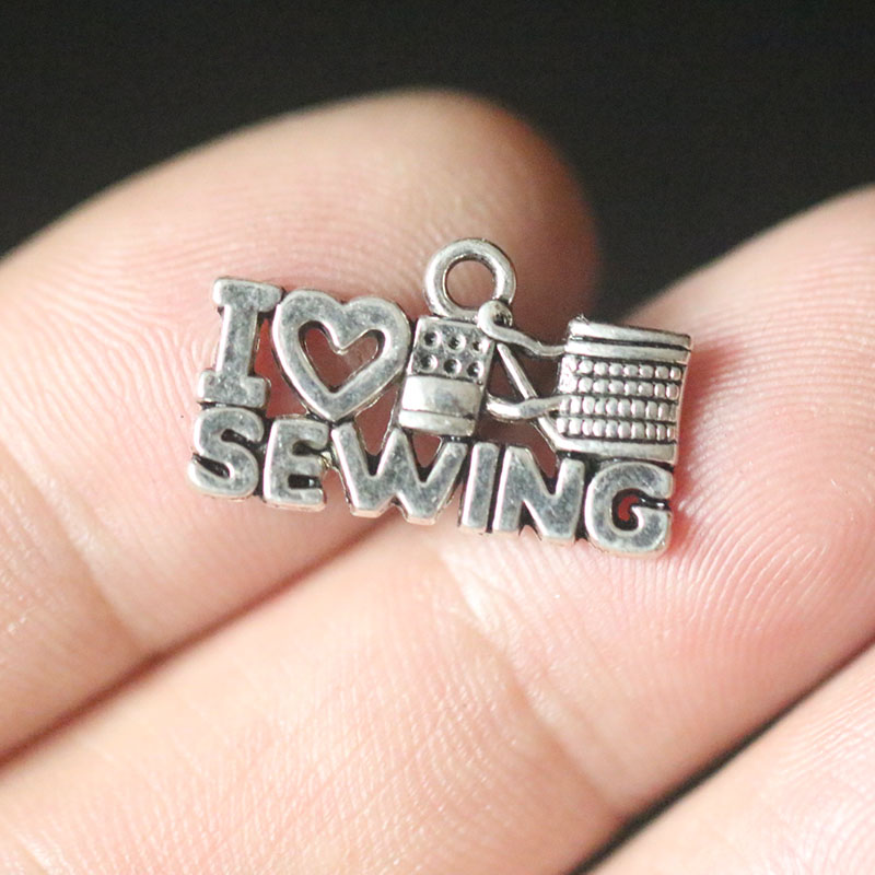 I Love Sewing Pendant Charms for Jewelry Making DIY Handmade Vintage Tibetan Silver Jewelry Accessories 20X18mm 10pcs in Charms from Jewelry Accessories