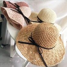 Hecho a mano del verano plegable sombrero de Sol para las mujeres niñas  paja Sombreros de Panamá borde ancho grande de la playa . d62ad4ea32e