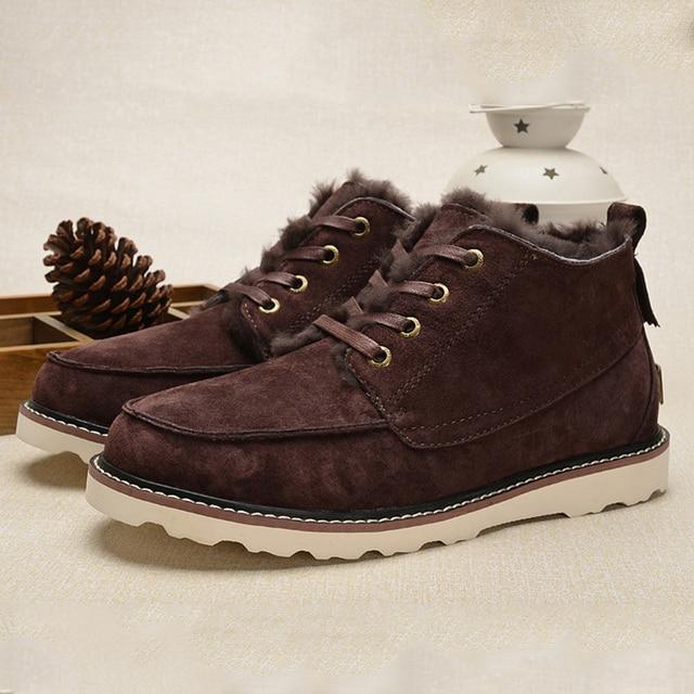 UVWP Бренд Высокого Качества для Мужчин Снегоступы мужская Мода Теплый зимние Сапоги Из Натуральной Кожи Сапоги Натуральный Мех Мужчины Ботильоны обувь