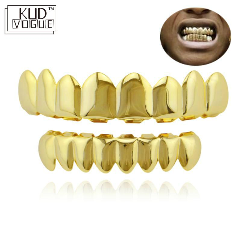 Hip Hop Gold Teeth Grillz Top & Bottom Grills Dental Mouth Punk Teeth Caps Cosplay Party Tooth Rapper Jewelry Gift 8446 image