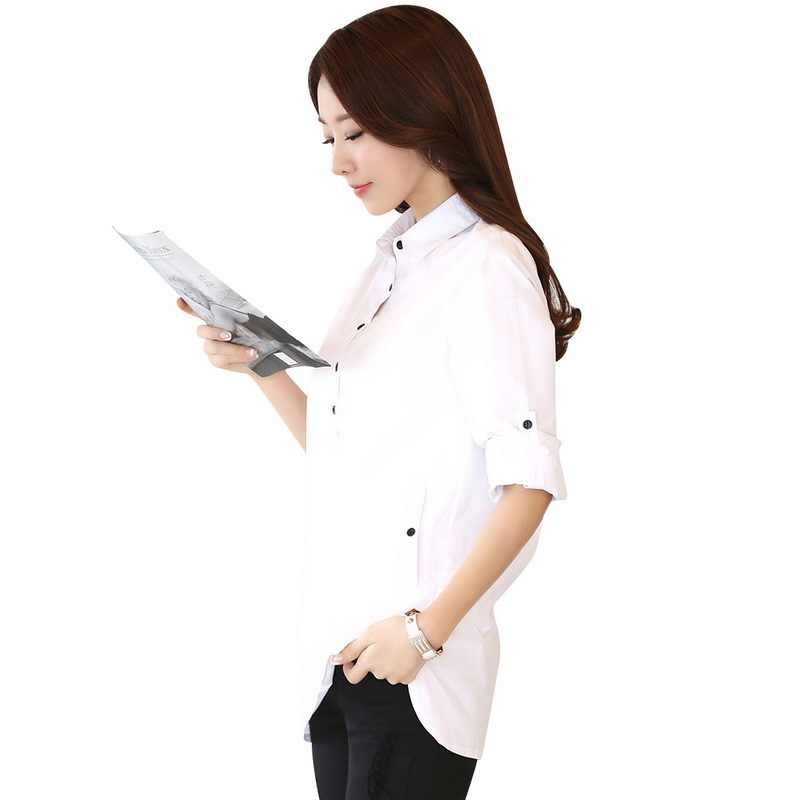 Sexy Elegant Blouse White Shirt Women blusa social feminina S-3XL Ladies Office Shirts Formal Cotton Blouse Blusas Femininas