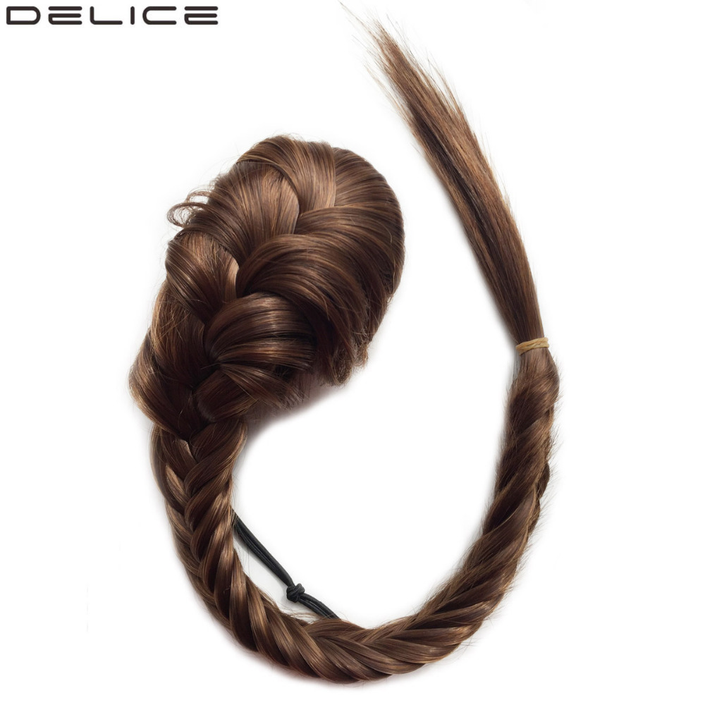 Delice 20 Long Braided Fishtail Ponytails Women's Clip In Straight Pony Tail With Elastic Drawstring Rope Synthetic Hair