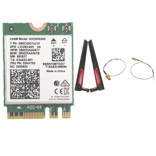 Z zestawem anten AC88U 8dbi + bezprzewodowa karta Intel Wi Fi AX200 Bluetooth 5.0 802.11ax/ac MU MIMO 2x2 Wifi NGFF AX200NGW