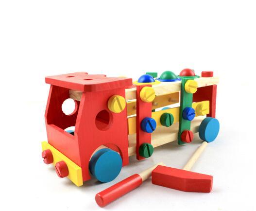 Wynlzq Wooden Children Toys Disassemble Beating Screw Car