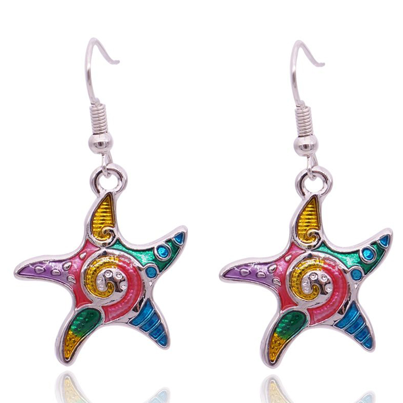 Colorful Star Earrings Enamel For Girls Fashion Bohemian Silver Starfish Sea Animal Jewelry Brincos Earrings Sets