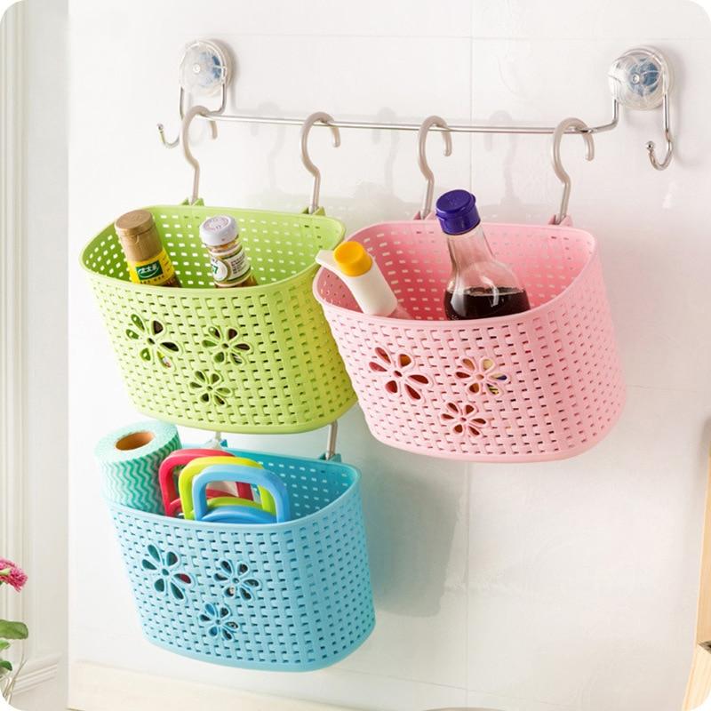 แขวนตะกร้าเก็บตะกร้าพลาสติกห้องน้ำแขวนแร็คอุปกรณ์ครัวออแกไนเซอร์ตกแต่งแบบพกพาที่มีประโยชน์การจัดเก็บ
