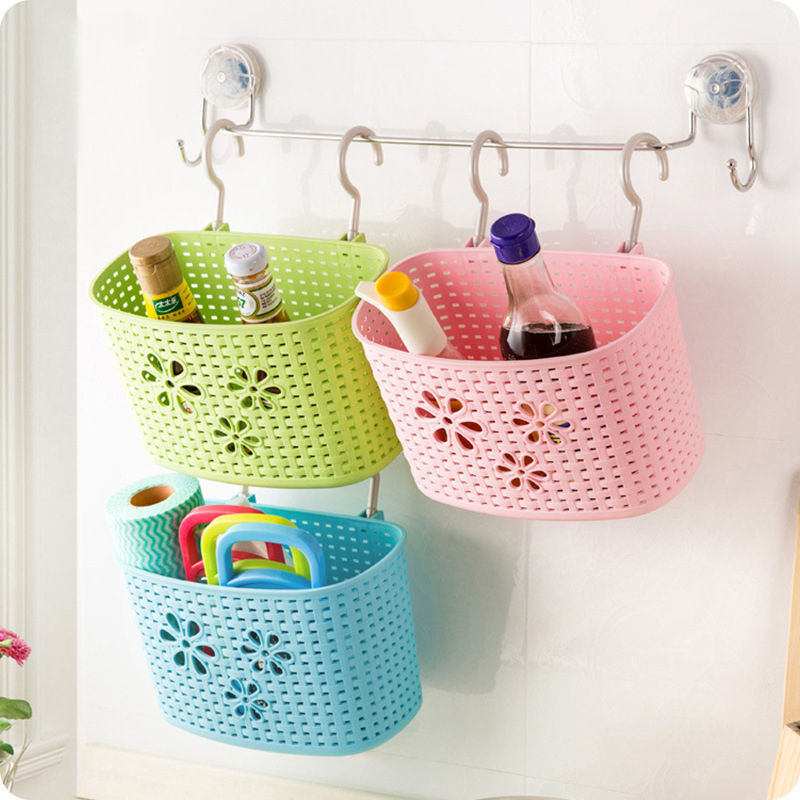 Mini Desk Plastic Basket Bathroom Hanging Rack Kitchen Supplies Organizer Decoration Portable