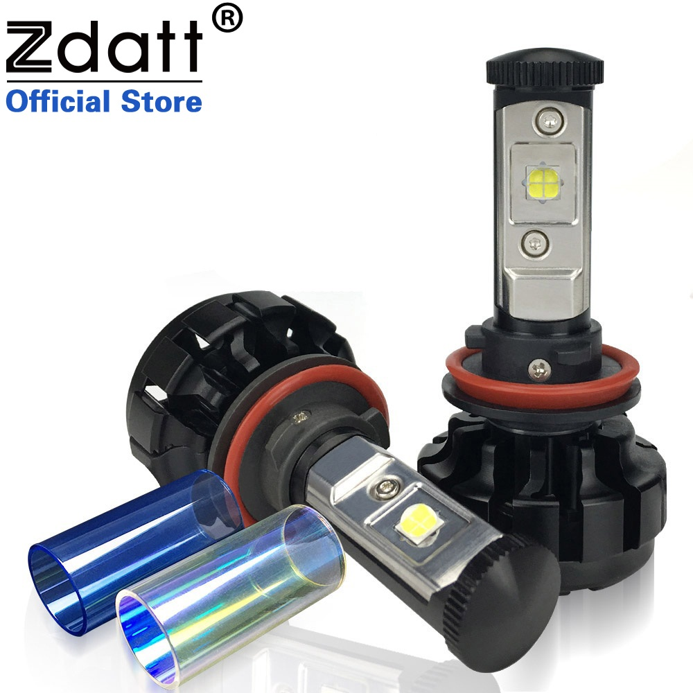 Zdatt 2Pcs 12000LM H8 H9 H11 Led Lamp Canbus 80W Headlight Bulbs Car LED Light Conversion Kit Yellow 12V Fog Light Automobiles 1 set 8000lm h11 car led headlight kit bulbs cob chip auto led conversion kit 12v h8 h9 replace for halogen lights or hid bulbs