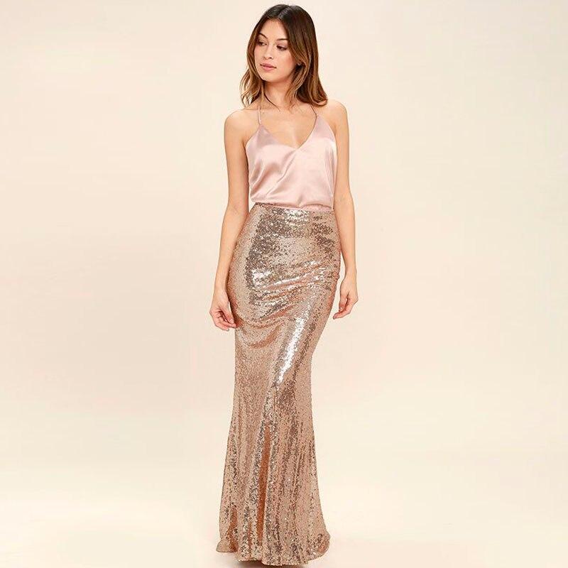 Длинная блестящая юбка