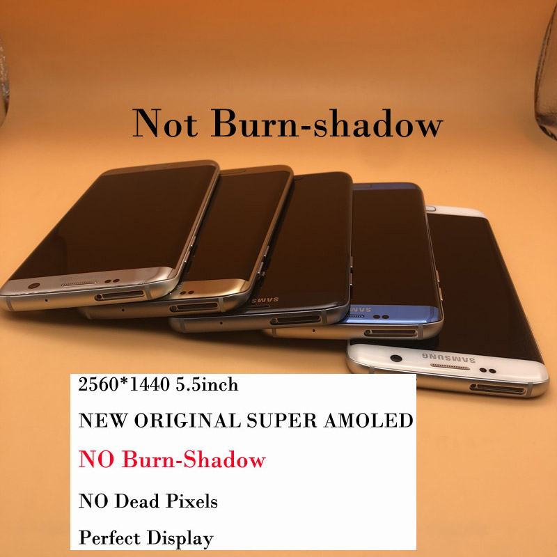 New Without Burn Shadow Super AMOLED Display For Samsung Galaxy S7 Edge LCD With Frame G935 G935F G935FD Digitizer Touch Screen-in Mobile Phone LCD Screens from Cellphones & Telecommunications