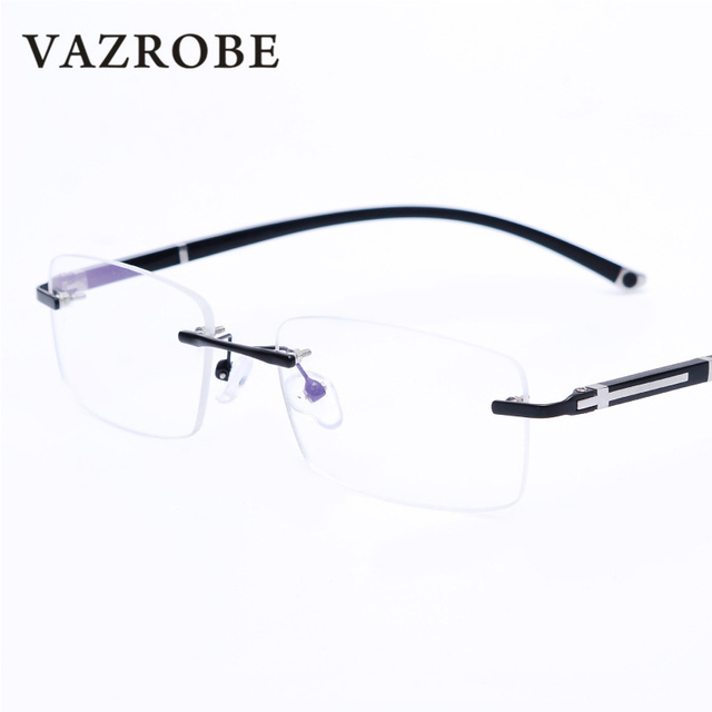 ed42c6013b9 Vazrobe Rimless Glasses Frame for Men Prescription Spectacles Quality  Frameless Eyeglass with Optical Clear Lens (can Mount Lens